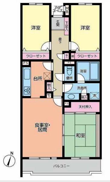 ライオンズガーデン野田梅郷ウエストサイト203号室間取図20181217