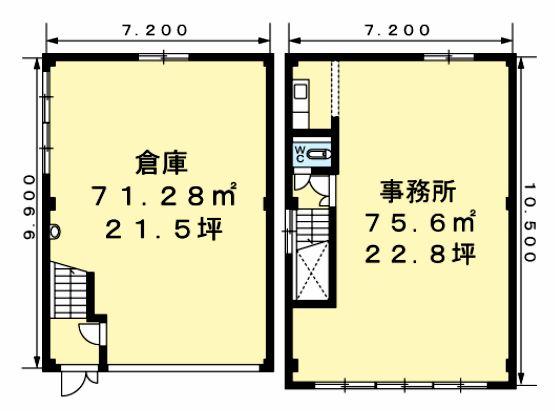 六高台7丁目倉庫付事務所C101間取図20190129