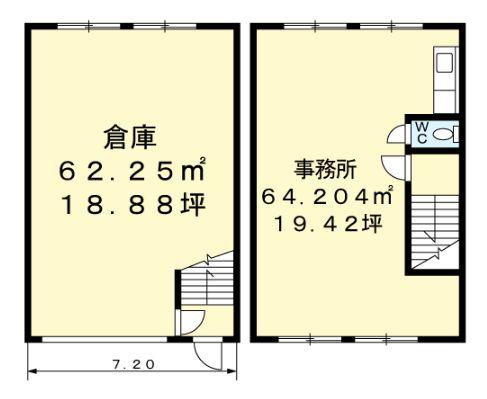 花野井倉庫付事務所B103間取図20190318